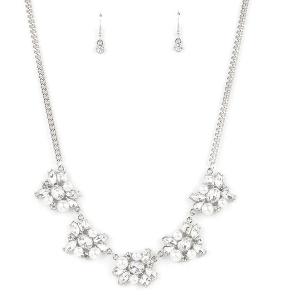 HEIRESS of Them All - White Necklace Earring Set